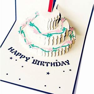 Happiest 誕生日 バースデー [ 立体 ] お祝い ホビー グリーティングカード 3D ポップアップ メッセージカード (バースデイカードブル clairdelune9126