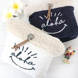 ポーチ 小物入れ ハワイ 雑貨 Kahiko アロハモコポーチ ホワイト ネイビー 可愛い 秋 冬 プチギフト clara-hawaii