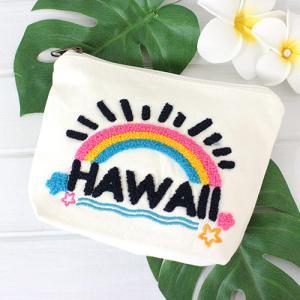 ポーチ 小物入れ ハワイ 雑貨 Kahiko アロハエンブ ポーチ ブルー ホワイト ネイビー 可愛い プチギフト clara-hawaii