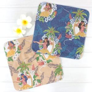 ハワイ ハンドタオル ヴィンテージフラ ハンカチ タオル パイナップル 雑貨 可愛い プチギフト|clara-hawaii