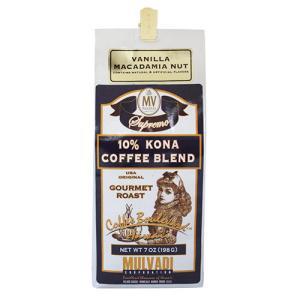 コーヒー 珈琲 ハワイ 土産 コナコーヒー マルバディ MULVADI 10%コナコーヒー バニラマカダミア 7oz 198g ギフト お歳暮 お中元|clara-hawaii
