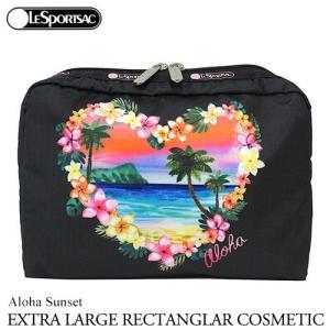 ハワイ 限定 レスポートサック ポーチ LeSportsac アロハサンセット Aloha Sunset エクストララージレクタンギュラーコスメティック 7121 黒 ブラック|clara-hawaii