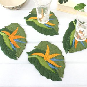ハワイ 土産 ハワイアンキルト コースター  バードオブパラダイス 4枚セット 雑貨 キッチン インテリア ハワイアン雑貨 ギフト プレゼント 母の日|clara-hawaii