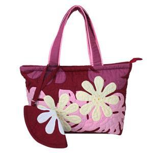 ハワイ バッグ ハワイアンキルト トートバッグ ポーチ付き 花柄 おしゃれ レッド 赤 普段使い 雑貨 ギフト プレゼント 母の日|clara-hawaii