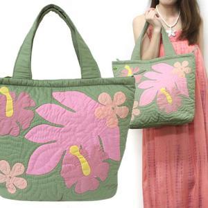 ハワイ ハワイアンキルト バッグ トートバッグ グリーン 緑 可愛い おしゃれ 普段使い ハワイアン雑貨 ギフト プレゼント 母の日|clara-hawaii