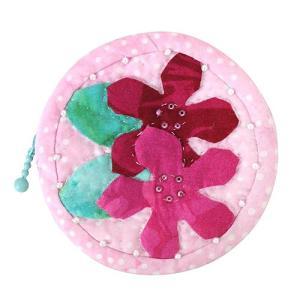 ハワイ 土産 ハワイアンキルト ポーチ プルメリア ピンク ハワイアン雑貨 ギフト プレゼント|clara-hawaii