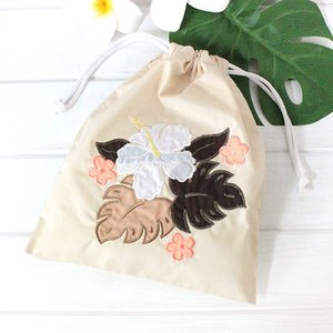 ハワイアンキルト 巾着 袋 ハワイ 土産 ブルー ピンク ベージュ ハワイアン雑貨 ギフト プレゼント 母の日|clara-hawaii