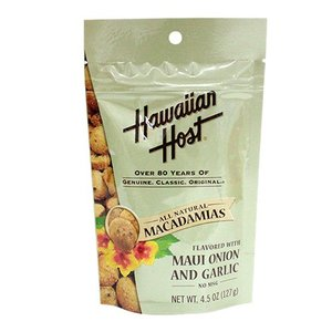 ハワイ お土産 ハワイアンホースト Hawaiian Host マウイオニオン&ガーリック マカデミアナッツスタンドアップバッグ 4.5oz 127g お菓子|clara-hawaii