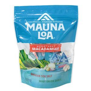 ハワイ お土産 マウナロア マカダミアナッツ ミニアソートバッグ 98g ドライロースト塩味 マウイオニオン&ガーリック ハニーロースト|clara-hawaii