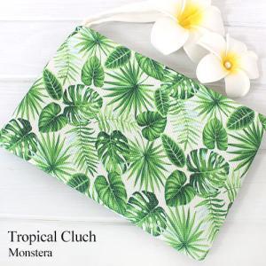 ハワイ 土産 ポーチ クラッチ 花柄 モンステラ Island Heritage トロピカルクラッチ おしゃれ 雑貨 可愛い clara-hawaii