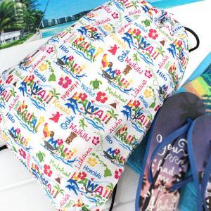 ハワイ バッグ リュック おしゃれ 雑貨 ドローストリング バックパック Island Heritage 普段使い ブルー 青|clara-hawaii
