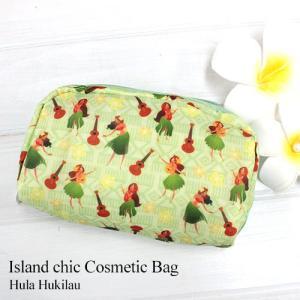 ハワイ 雑貨 ポーチ 可愛い Island Heritage アイランドチック コスメティックバッグ ハワイアン雑貨 ブルー ピンク グリーン|clara-hawaii