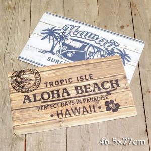 送料込 マット キッチンマット ハワイアン雑貨 Kahiko  マナウッドPVCマット 46.5cm×77cm おしゃれ 可愛い キッチン 台所 インテリア|clara-hawaii