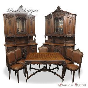 アンティーク ダイニングセット アンティーク家具 キャビネット テーブル チェア 5脚 ウォールナット 1900年代  フランス antique62813 classic-de-modern
