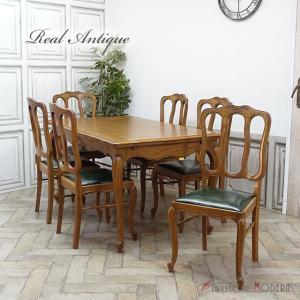 アンティーク ダイニングセット アンティーク家具 テーブル チェア 6脚 ドローリーフ オーク 1930年代  フランス antique63459 classic-de-modern