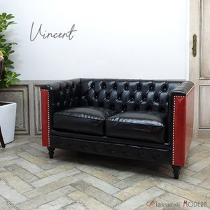 チェスターフィールド ソファ 2人掛け ソファー 二人用 長椅子 ヴィンセント ヴィンテージ レトロ シャビー 英国 イギリス ラウンジ カフェ VM2P51P63K classic-de-modern
