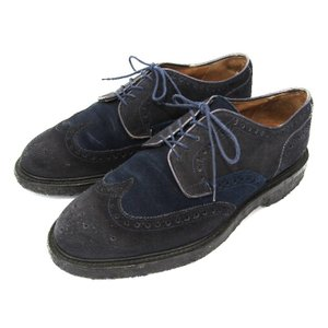 CHEANEY FOR 1LDK チーニー ウィングチップ 別注 BROGUE SHOES クレープソール フルブローグ 紺 コンビスエード UK7F シューズ  中古 10003762|classic