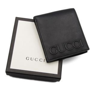 GUCCI グッチ 二つ折り財布 428765・2184 XL MOON ロゴ エンボス カーフ ブラック 黒  レザー 革  中古 18000250 classic