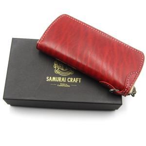 未使用 SAMURAI CRAFT サムライクラフト 長財布 ラウンドファスナー タイプ2 ルガトショルダー  レッド 赤  レザー 革  中古 18000453|classic