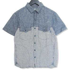 THE FOOL ザ フール 半袖ワークシャツ ヒッコリー  インディゴ S メンズ  中古 27002615 classic