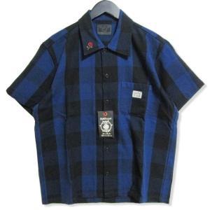 未使用 B.S.M.G BAY SIDE MOTOR GEAR ベイサイドモーターギア 半袖ネルシャツ BSMG-18-SS-08 チェック 刺繍 青 黒 L メンズ  中古 27003151|classic