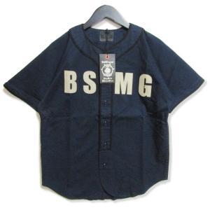 未使用 B.S.M.G BAY SIDE MOTOR GEAR ベイサイドモーターギア 半袖シャツ BSMG-18-SS-09 ベースボールシャツ  ネイビー S メンズ  中古 27003153 classic