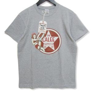 未使用 CALEE キャリー 半袖Tシャツ CL-19SS067 Pin up girl star t-shirt グレー M タグ付き メンズ  中古 27003177|classic