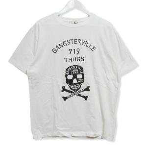 GANGSTERVILLE ギャングスタービル 半袖Tシャツ プリントTee クルーネック スカル コットン ドクロ ホワイト 白 XL メンズ  中古 27004120|classic