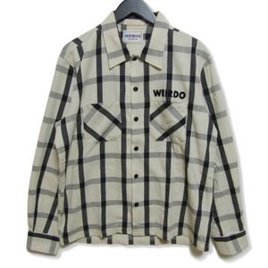 weirdo ウィアード 長袖チェックシャツ WRD-18-SS19 SLEAZY OLD巻刺繍 刺繍 ロゴ ワッペン ポケット フェルトパッチ 白黒 M メンズ 中古 27004291|classic