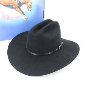 RESISTOL レジストール ウエスタンハット 4 XXXX Beaver カウボーイハット 箱付 フェルト素材 ブラック 黒  帽子 メンズ  中古 28002354|classic