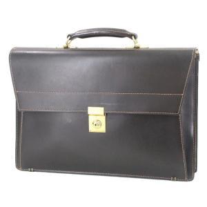 土屋鞄製造所 ツチヤカバン ブリーフケース フラップ ビジネスバッグ 3層式 旧ロゴ 土屋鞄 ブラック 黒 レザー  バッグ 鞄  中古 60005899|classic