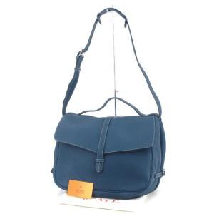 未使用 ACATE アカーテ ショルダーバッグ WILLEY-WILLEY 2WAY イタリア製 ブルー 青 シュリンクレザー  バッグ 鞄 中古 60006188|classic