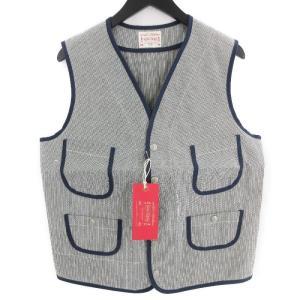 未使用 BONCOURA ボンクラ パイピングベスト ヒッコリー Piping Vest Hickory レザー ピンストライプ レッド 赤 38 メンズ  中古 70009216|classic