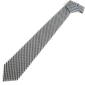 未使用 BONCOURA ボンクラ ネクタイ ギンガムチェック コットン  黒 白  メンズ 小物  中古 70009492|classic