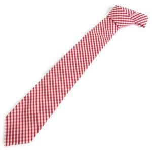 未使用 BONCOURA ボンクラ ネクタイ ギンガムチェック コットン  赤 白  メンズ 小物  中古 70009493|classic