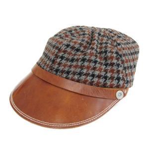 未使用 BONCOURA ボンクラ キャスケット チェック つばレザー ウール ワークキャップ ボンクラ帽 ブラウン グレー  帽子 メンズ  中古 70009518|classic