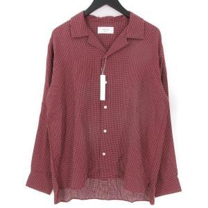 未使用 SANDINISTA サンディニスタ 長袖オープンカラーシャツ SS18-06-TP 開襟 Stitched Cross Shirt バーガンディ L メンズ  中古 70009807|classic