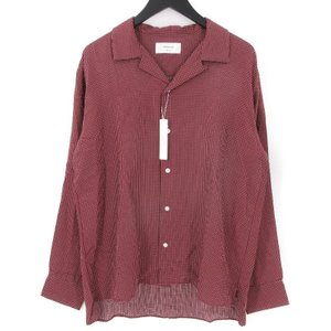 未使用 SANDINISTA サンディニスタ 長袖オープンカラーシャツ SS18-06-TP 開襟 Stitched Cross Shirt バーガンディ M メンズ  中古 70009808|classic