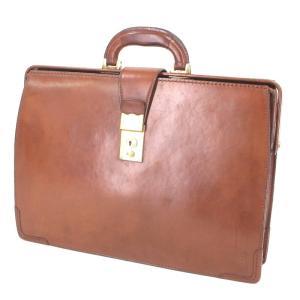 大峡製鞄 オオバセイホウ ダレスバッグ 細マチ レザー ブリーフケース ビジネスバッグ 大峽製鞄 ブラウン 茶  バッグ 鞄  中古 90000367|classic