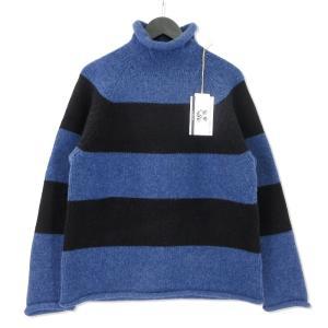 未使用 Mr.GOODMAN ミスターグッドマン ロールネック ニット MGKT-1812022  アンドファミリー セーター ブルー 青 M メンズ  中古 92000430|classic