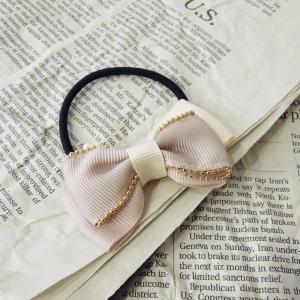 セール/リボン付きヘアゴム ピンク ホワイト ヘアアクセサリー レディース 大人可愛い 髪留め 髪飾り プレゼント おしゃれ まとめ髪 仕事 小さめ 定形外可|classica