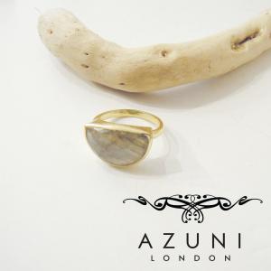 AZUNI LONDON ラブラドライトリング アズニ レディース 指輪 12号 ゴールド 天然石 海外 ブランド キャサリン妃 ハーフムーン 通販 classica