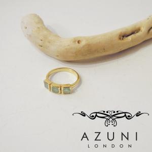 アズニ AZUNI LONDON アクアカルセドニーリング 指輪 レディース 婦人 11号 通販 おしゃれ 人気 正規品 プレゼント ゴールド 天然石|classica