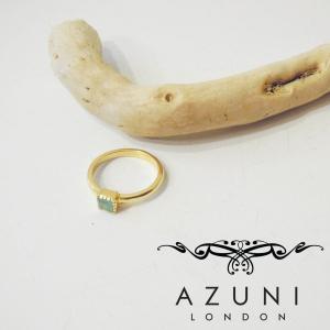 アズニ AZUNI LONDON アクアカルセドニー付きリング 指輪 レディース 14号 天然石 ゴールド 正規品 通販 おしゃれ キャサリン妃 贈り物|classica
