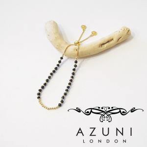 AZUNI londonアズニロンドン/ブラックオニキスチェーンブレスレット 18k ゴールド 金 レディース 黒 ブラック イギリス製 おしゃれ 人気 プレゼント ブランド|classica