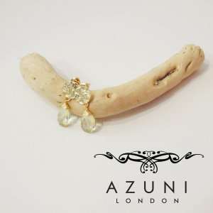 AZUNI londonアズニロンドン/レモンクオーツ付きピアス キャサリン妃 王室 レディース ゴールド 金 18k プレゼント おしゃれ 人気 イギリス製 定形外可|classica