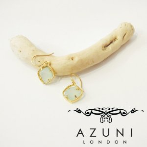 AZUNI londonアズニロンドン/アクアカルセドニー付きフックピアス 人気 青 金鍍金 18k ゴールド キャサリン妃 プレゼント レディース 贈り物|classica