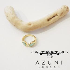 AZUNI LONDON アズニロンドン アクアカルセドニーティアドロップ型リング 指輪 9号 レディース ゴールド 18k 鍍金 通販 おしゃれ 女性用|classica