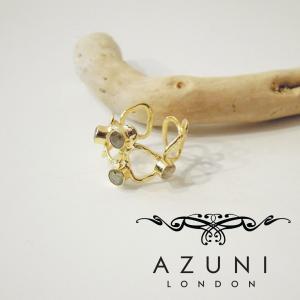 AZUNI LONDON/アズニロンドン ラブラドライト付きワイドリング レディース 10号 11号 指輪 ブランド ゴールド 18k 18金 通販 人気 女性用|classica
