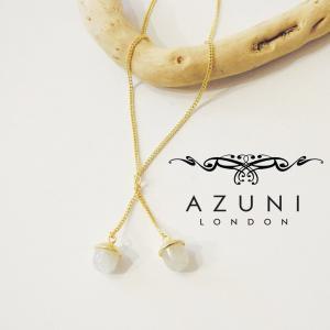 AZUNI LONDON アズニロンドン ムーンストーン付きロングネックレス レディース アズニ ゴールド 18k 18金 おしゃれ 通販 アクセサリー|classica